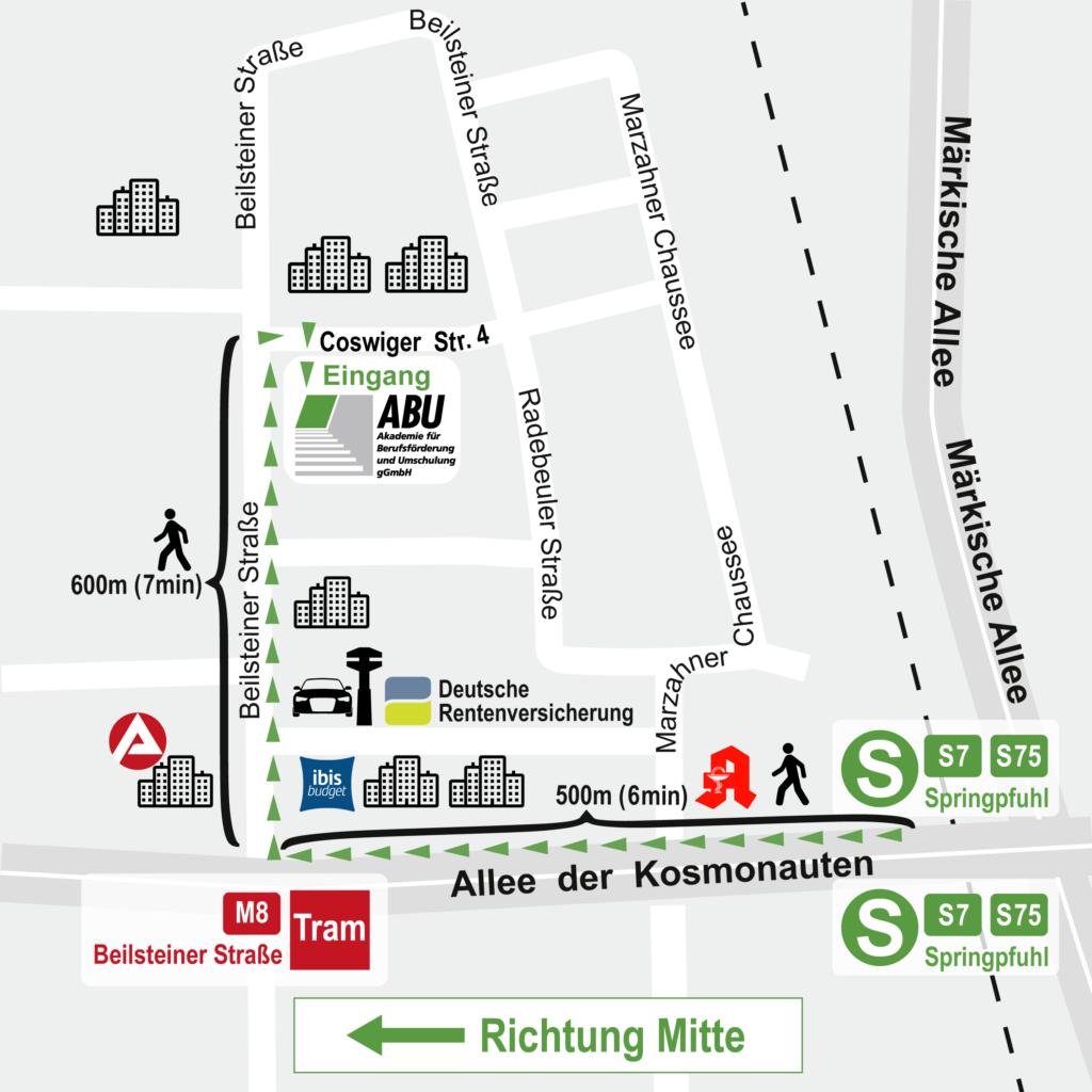 Karte mit Wegbeschreibung vom S-Bhf Springpfuhl zur ABU gGmbH